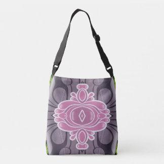 Chic Modern Pink White Lavender Graphic Design Crossbody Bag