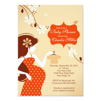 Chic Modern Pregnant Mom Baby Shower Card