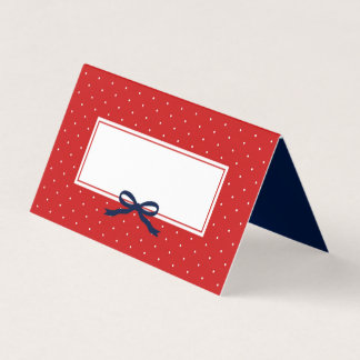 Chic Modern Red Polka Dot with Blue Ribbon Place Card