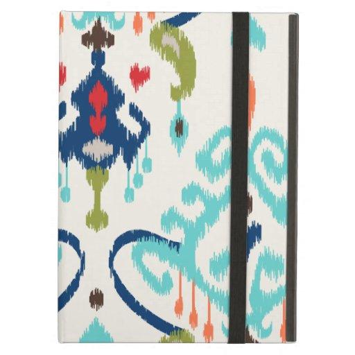Chic modern teal navy blue ikat tribal pattern iPad covers