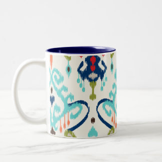 Chic modern teal navy blue ikat tribal pattern Two-Tone coffee mug