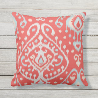 Chic modern teal red girly ikat tribal pattern outdoor pillow