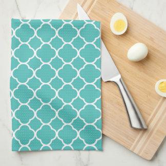 Chic & Modern Teal/White Quatrefoil Kitchen Towel