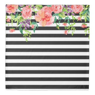 Chic Modern Watercolor Bold Floral Stripe Black Duvet Cover