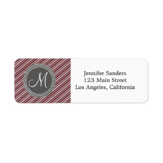 CHIC MODERN WINE STRIPES AND MONOGRAM RETURN ADDRESS LABEL
