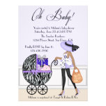 Chic Mom and Buggy with Gifts Custom Invites