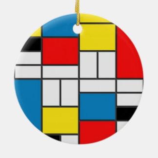 Chic Mondrian Cubism Style Ceramic Ornament