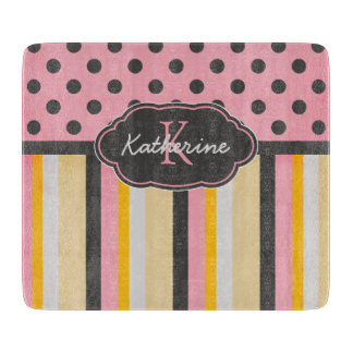 Chic Monogram Chalkboard Stripes and Polka Dots Boards