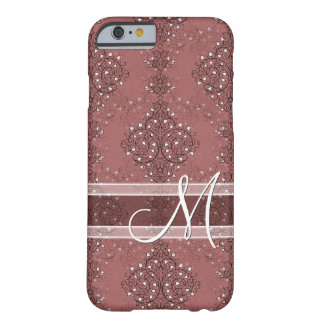 Chic Monogram Classic Floral Damask Pattern Barely There iPhone 6 Case