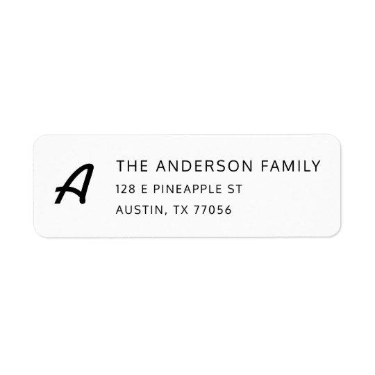 Chic Monogram + Custom Family Name Return Address Return Address Label