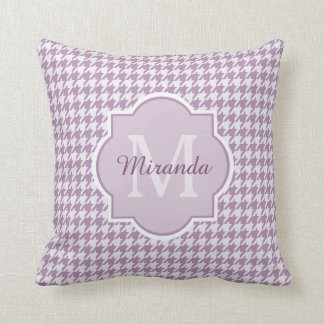 Chic Monogram Light Purple Houndstooth With Name Throw Pillow