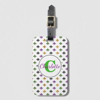 Chic Monogram Mardi Gras Fleur De Lis Luggage Tag