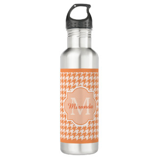 Chic Monogram Orange Houndstooth With Name 710 Ml Water Bottle