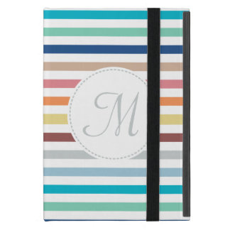Chic Monogram Pastel Rainbow Horizontal Stripes Case For iPad Mini
