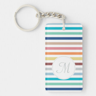 Chic Monogram Pastel Rainbow Horizontal Stripes Double-Sided Rectangular Acrylic Keychain