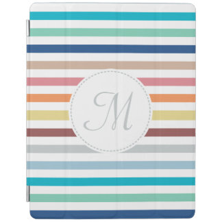 Chic Monogram Pastel Rainbow Horizontal Stripes iPad Cover