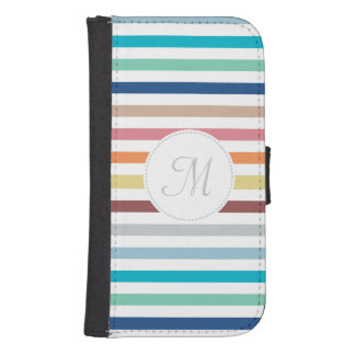 Chic Monogram Pastel Rainbow Horizontal Stripes Samsung S4 Wallet Case