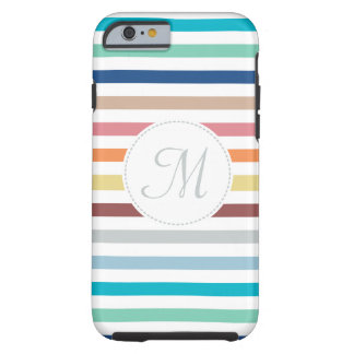 Chic Monogram Pastel Rainbow Horizontal Stripes Tough iPhone 6 Case