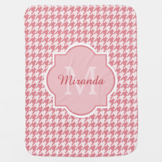 Chic Monogram Pink Houndstooth With Name Baby Blanket