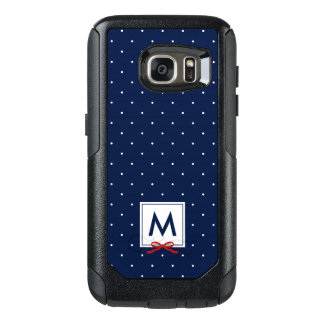 Chic Monogram Red Ribbon Blue Polka Dot OtterBox Samsung Galaxy S7 Case