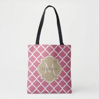 Chic Monogram Rose Pink Tan Quatrefoil and Name Tote Bag