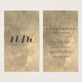 Chic Monogram Sepia Watercolor Business Card
