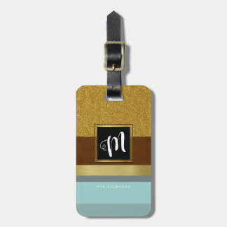 chic monogram with cool stripes luggage tag
