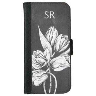 Chic Monogrammed chalkboard tulips iPhone 6 Wallet Case