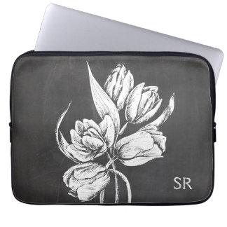 Chic Monogrammed chalkboard tulips Laptop Sleeve