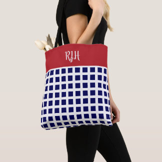 Chic monogrammed checkerboard in Red, White & Blue Tote Bag