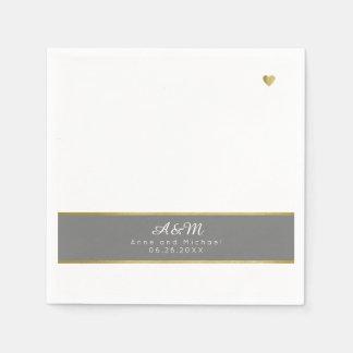 chic monogrammed gray stripe on white wedding disposable napkin