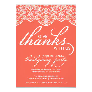 Chic Moroccan Lace Thanksgiving Party Invitation