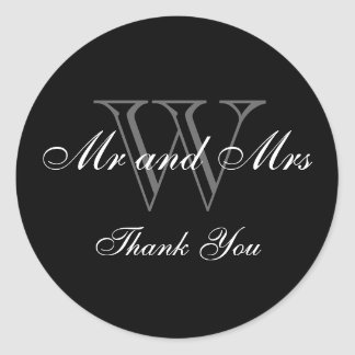 """CHIC_""""Mr and Mrs"""" """"THANK YOU"""" BLACK STICKER"""
