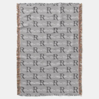 """CHIC """"Mr and Mrs"""" THROW_BLACK/WHITE/GREY Throw Blanket"""
