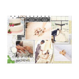 Chic Mr & Mrs Monogram Wedding Photo Collage Canvas Print