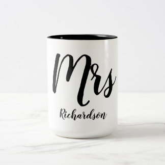 "CHIC ""MRS MUG_WITH NAME_BLACK/WHITE Two-Tone COFFEE MUG"