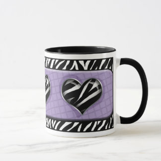 Chic My Heart Purple Zebra Print Mug