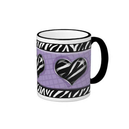 Chic My Heart Purple Zebra Print Mug