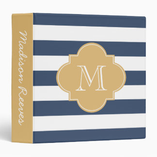 Chic Navy and Gold Striped Custom Monogram 3 Ring Binder