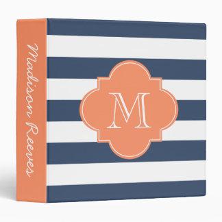 Chic Navy and Orange Striped Custom Monogram Binders