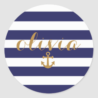 Chic Navy And White Stripes Nautical Anchor Round Sticker