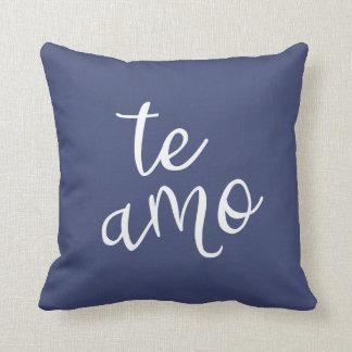 Chic Navy Blue and White Spanish I Love You Te Amo Throw Pillow