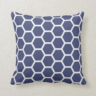 Chic Navy Blue Honeycomb Pattern Throw Pillow