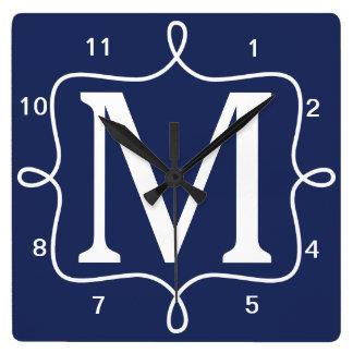 Chic Navy Blue Monogram Square Wall Clock