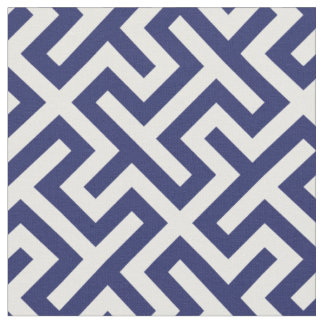 Chic navy blue white abstract geometric pattern fabric