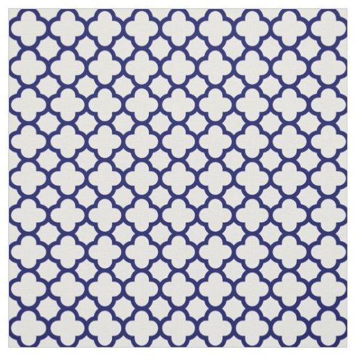 Chic Navy Blue White Classic Quatrefoil Pattern Fabric
