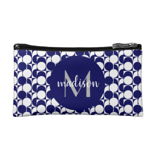 Chic navy blue & white geometric, monogrammed makeup bag