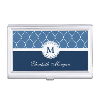 Chic Navy Blue White Lace Pattern Custom Monogram Business Card Holder
