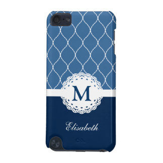 Chic Navy Blue White Lace Pattern Custom Monogram iPod Touch 5G Cover