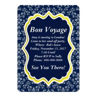 "Chic Navy Damask Floral ""Bon Voyage"" Invitation"